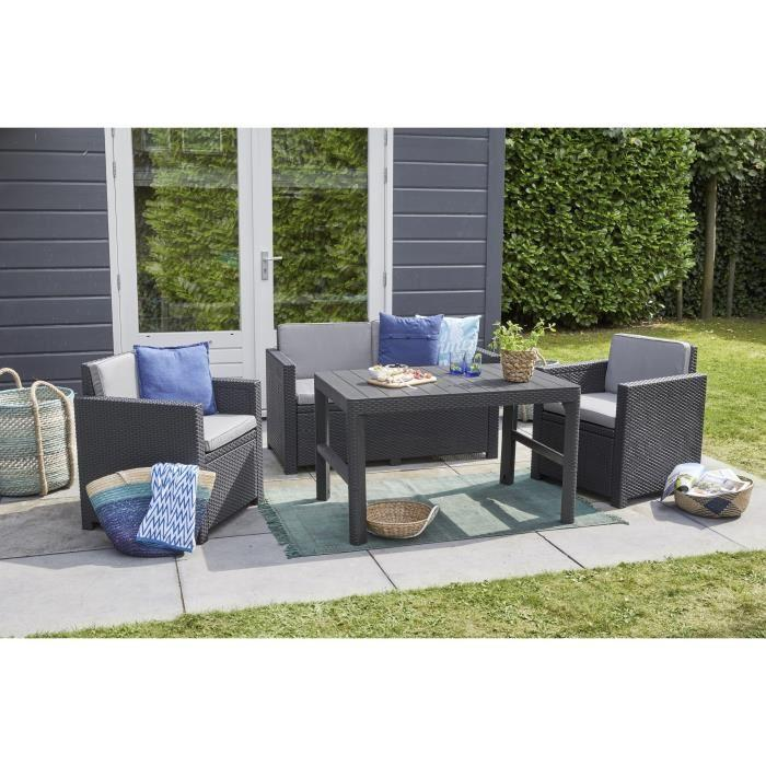 Salon de jardin ensemble table chaise fauteuil mid - Table de jardin resine tressee 4 places ...