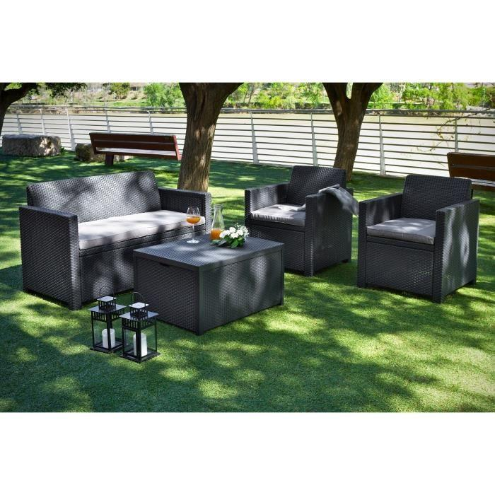 Allibert merano coffre salon de jardin 4 places resine aspect rotin 351005 - Salon de jardin rotin ...