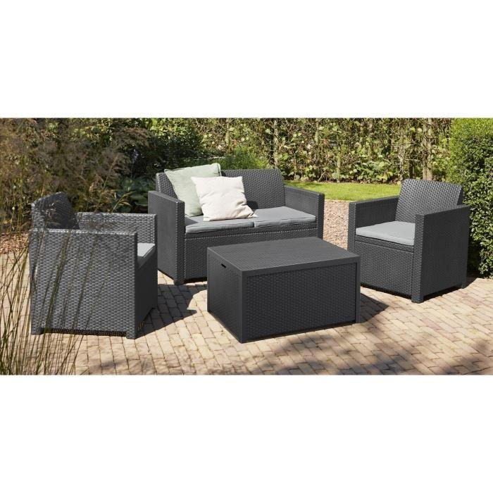 Allibert merano coffre salon de jardin 4 places resine for Coffre jardin resine gris