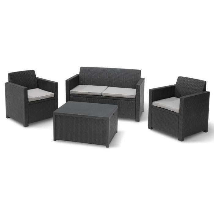 allibert merano coffre salon de jardin 4 places resine aspect rotin 351005. Black Bedroom Furniture Sets. Home Design Ideas
