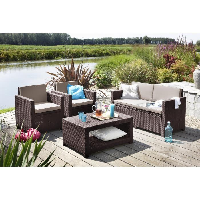 Allibert monaco salon de jardin aspect rotin tress 266895 for Ensemble de jardin tresse