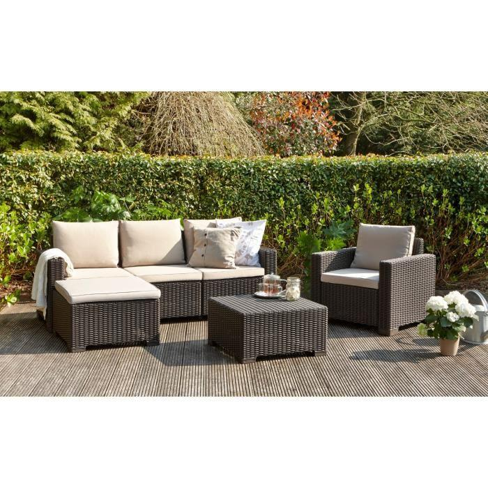 allibert moorea salon de jardin 4 pieces aspect rotin marron 266897. Black Bedroom Furniture Sets. Home Design Ideas