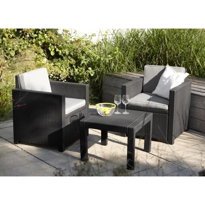 allibert victoria salon de jardin 2 places aspect rotin 266901. Black Bedroom Furniture Sets. Home Design Ideas