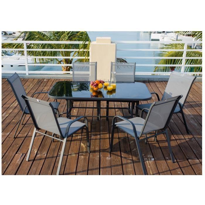 Aucune - Ensemble table de jardin 150 + 6 fauteuils acier textilene ...
