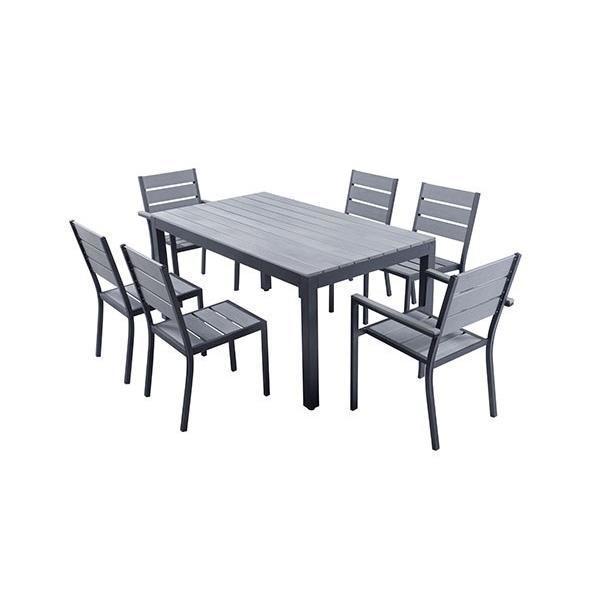 ensemble table de jardin 160 cm 2 fauteuils 4 chaises aluminium gris 289296. Black Bedroom Furniture Sets. Home Design Ideas