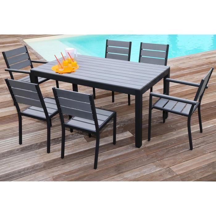 Ensemble table de jardin 160 cm 2 fauteuils 4 chaises for Chaise salon de jardin aluminium