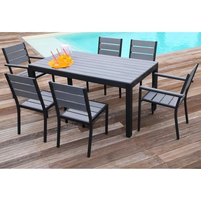 ensemble table de jardin 160 cm 2 fauteuils 4 chaises aluminium gris 289296. Black Bedroom Furniture Sets. Home Design Ideas