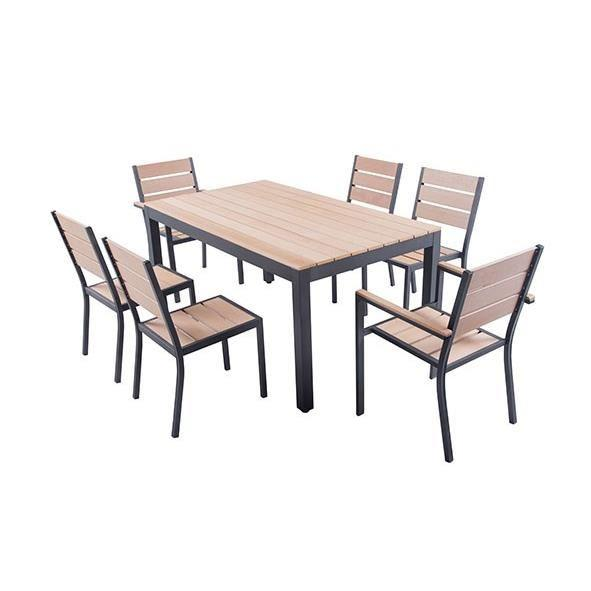 Ensemble table de jardin 160 cm 2 fauteuils 4 chaises for Ensemble table chaise bois