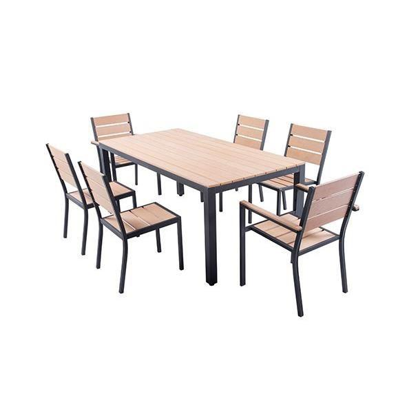ensemble table de jardin 180 cm 2 fauteuils 4 chaises aluminium et polywood aspect bois 286438. Black Bedroom Furniture Sets. Home Design Ideas