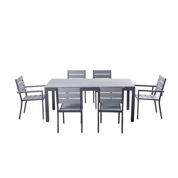 ensemble table de jardin 180 cm 2 fauteuils 4 chaises gris 272820. Black Bedroom Furniture Sets. Home Design Ideas