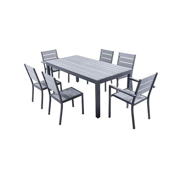 Ensemble table de jardin 180 cm 2 fauteuils 4 chaises for Ensemble salon gris