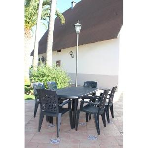 ensemble table de jardin 6 fauteuils atlantic gris anthracite 349957. Black Bedroom Furniture Sets. Home Design Ideas
