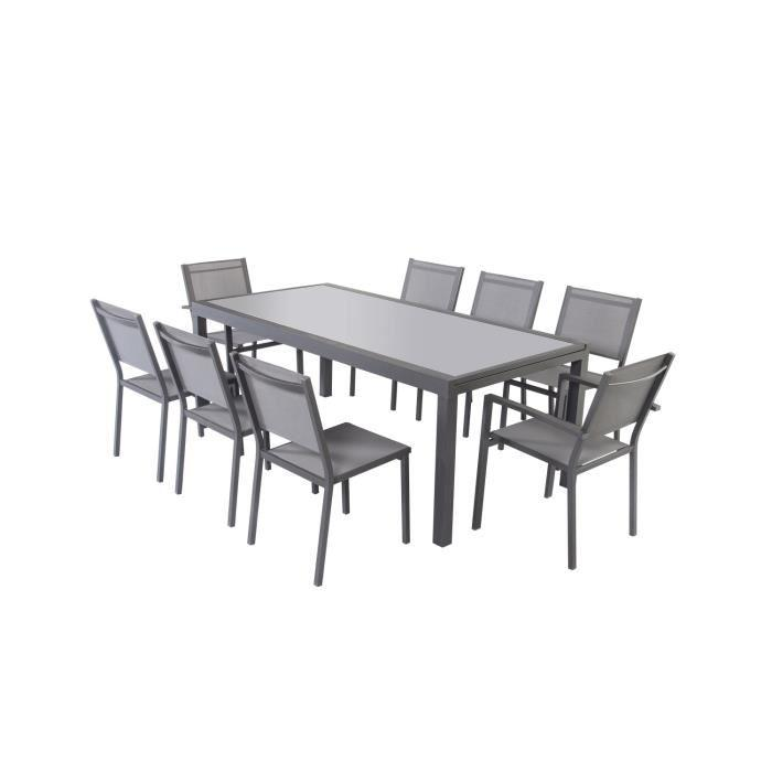 Ensemble table extensible 200 300 cm 8 chaises gris for Table extensible verre et bois