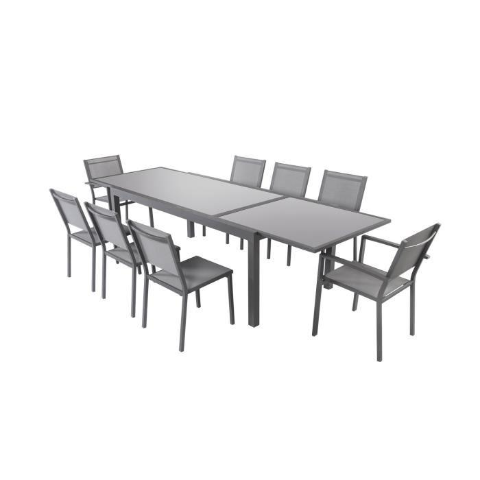 ensemble table extensible 200 300 cm 8 chaises gris aluminium et plateau verre 318424. Black Bedroom Furniture Sets. Home Design Ideas