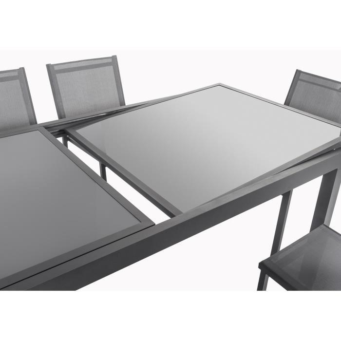 Ensemble table extensible 200 300 cm 8 chaises gris for Table jardin alu et verre