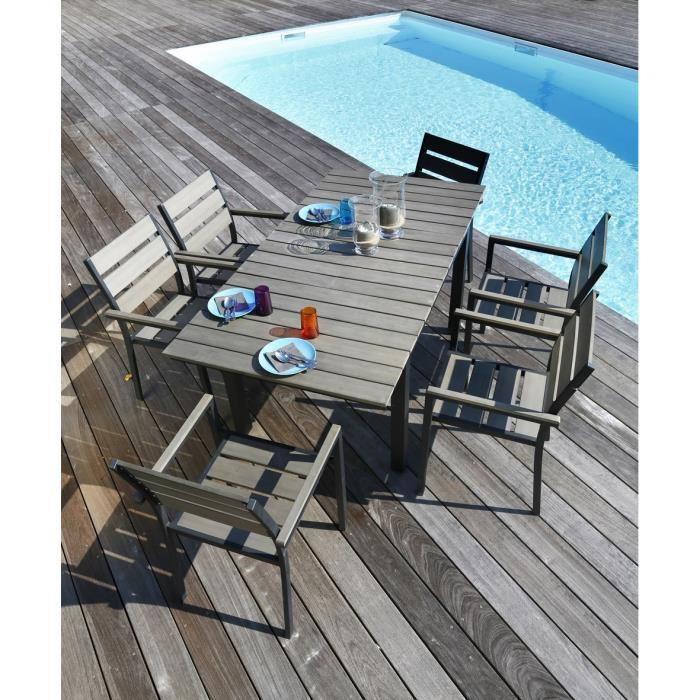 ensemble table extensible de jardin 120 180 cm 6 fauteuils aluminium et nowood gris clair 266874. Black Bedroom Furniture Sets. Home Design Ideas