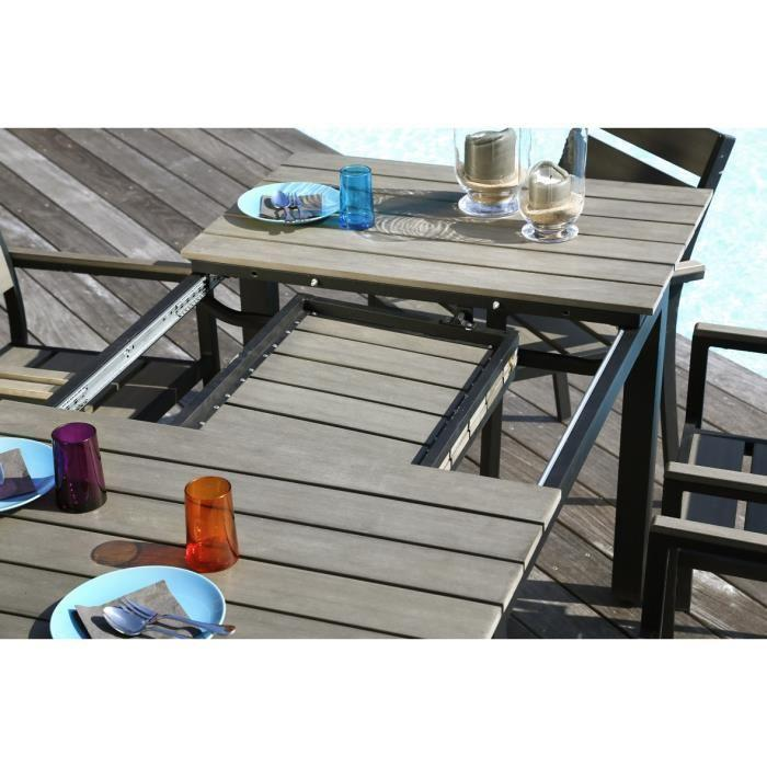 Emejing table de jardin extensible avec chaises ideas for Ensemble table et chaise rotin