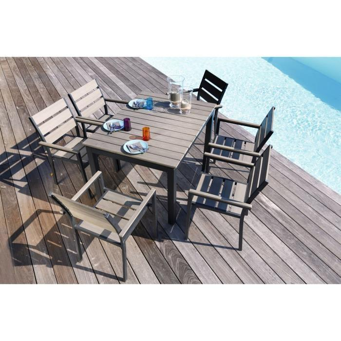 Emejing salon de jardin aluminium perfore photos home for Ensemble table et chaise extensible