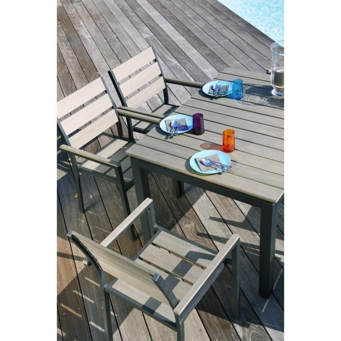 Beautiful table de jardin extensible en alu contemporary for Ensemble table fauteuil jardin