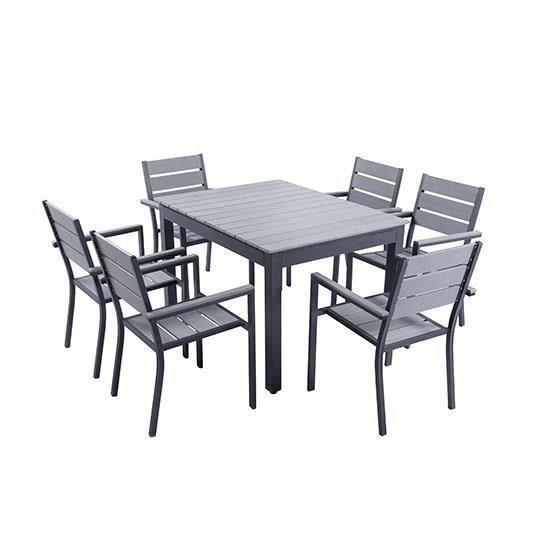 ensemble table extensible de jardin 180 240 cm 6 fauteuils aluminium 298618. Black Bedroom Furniture Sets. Home Design Ideas