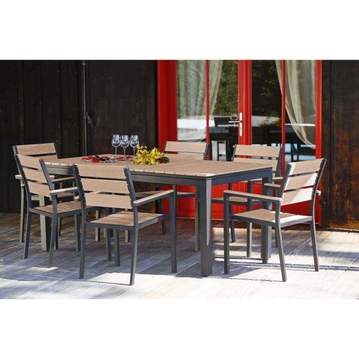 ensemble table extensible de jardin 180 240 cm 6 fauteuils aluminium et nowood 272811. Black Bedroom Furniture Sets. Home Design Ideas