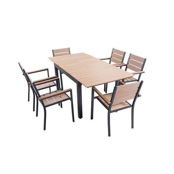 ensemble table extensible de jardin 180 240 cm 6 fauteuils aluminium et nowood 272811. Black Bedroom Furniture Sets. Home Design Ideas