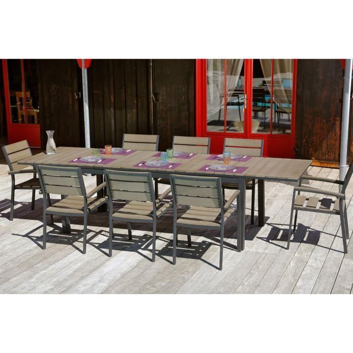 Ensemble table extensible de jardin 200 250 300 cm 8 fauteuils 315560 - Ensemble table extensible et chaise ...