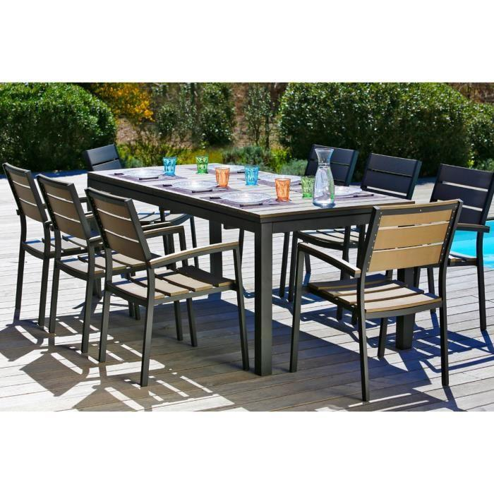 ensemble table extensible de jardin 200 250 300 cm 8 fauteuils 315560. Black Bedroom Furniture Sets. Home Design Ideas