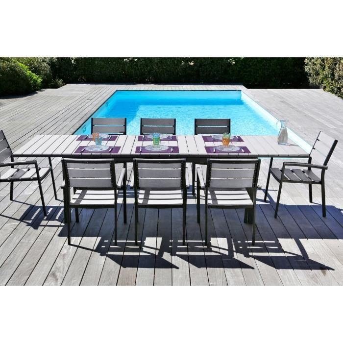 Beautiful table et fauteuil de jardin aluminium images for Table extensible aluminium