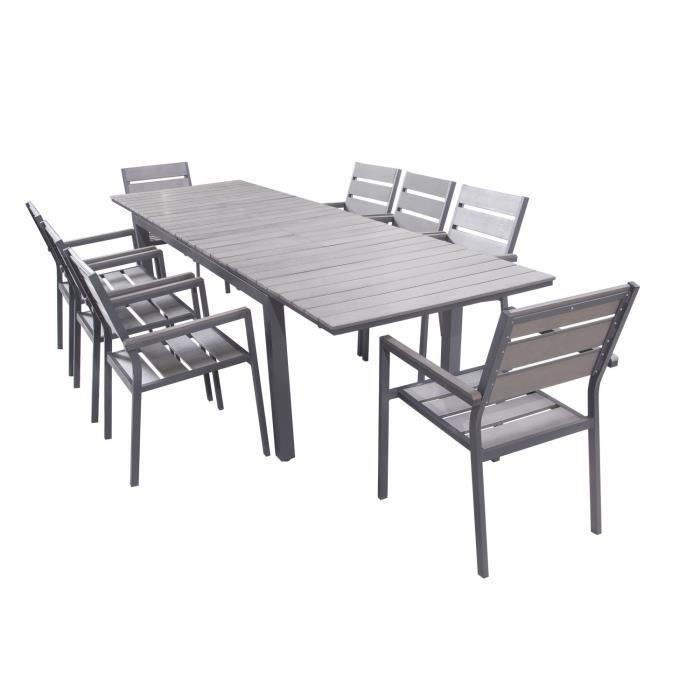 Ensemble table extensible de jardin 200 250 300 cm 8 - Table de jardin extensible aluminium ...