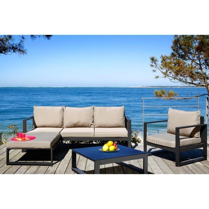 lagoon salon de jardin 4 pieces aluminium peint noir et coussins taupe 281849. Black Bedroom Furniture Sets. Home Design Ideas