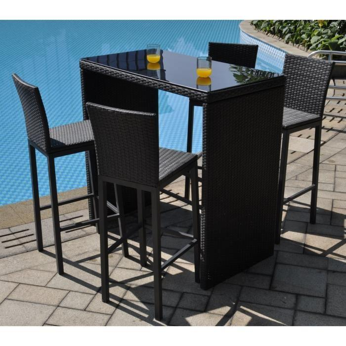 aucune riverside set bar 5 pieces alu r sine tress e 337840. Black Bedroom Furniture Sets. Home Design Ideas