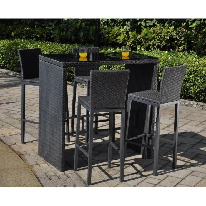 Aucune riverside set bar 5 pieces alu r sine tress e 337840 - Ensemble jardin resine tressee ...