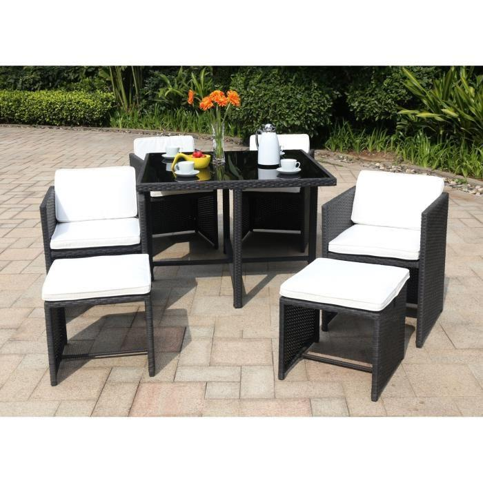 salon de jardin 1 table 4 fauteuils et 2 repose pieds en resine tressee 272815. Black Bedroom Furniture Sets. Home Design Ideas