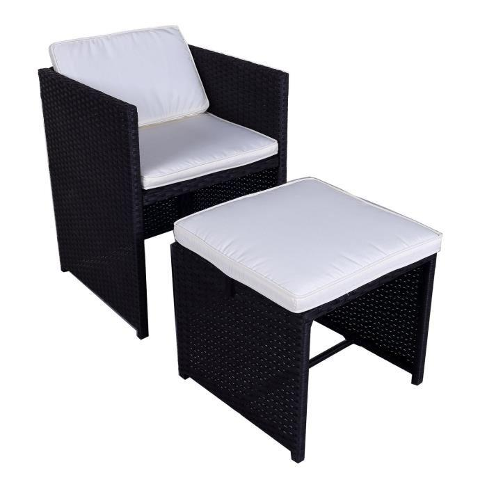 salon de jardin 1 table 4 fauteuils et 2 repose pieds en. Black Bedroom Furniture Sets. Home Design Ideas