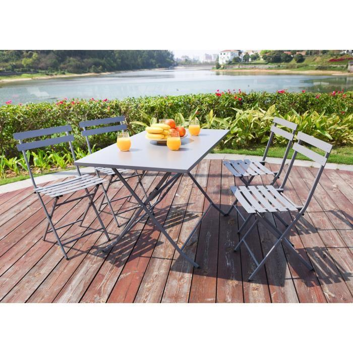 aucune table de jardin 4 chaises pliantes en acier gris 485684. Black Bedroom Furniture Sets. Home Design Ideas