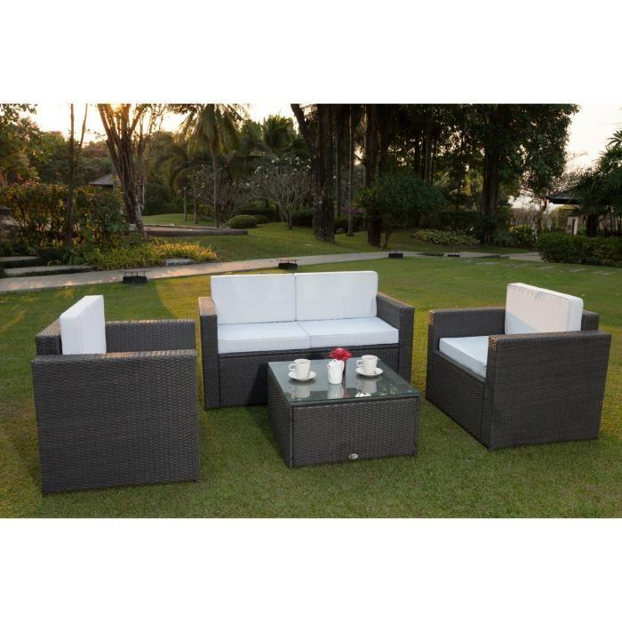 Bali salon de jardin r sine tress e acier gris anthracite for Article de jardin