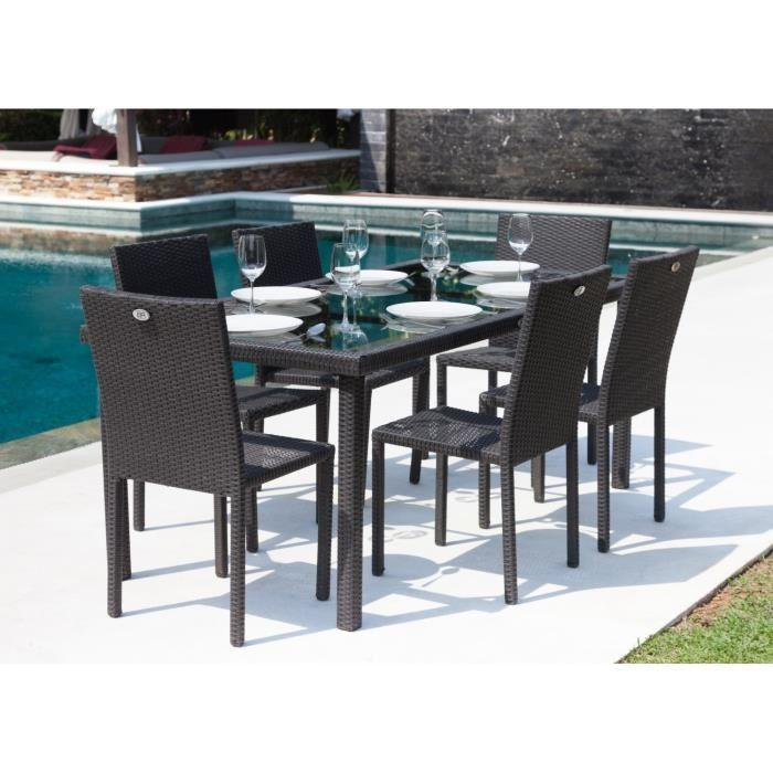 ensemble table de jardin 180 cm et 6 chaises resine tressee gris anthracite 266893. Black Bedroom Furniture Sets. Home Design Ideas