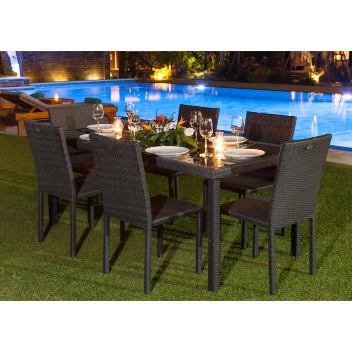 ensemble table de jardin 180 cm et 6 chaises resine. Black Bedroom Furniture Sets. Home Design Ideas