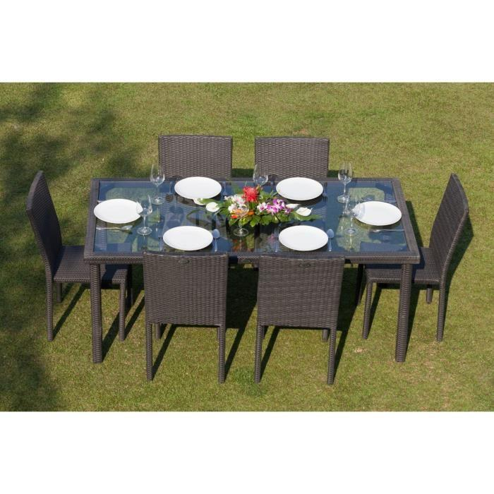 Beautiful table et chaise de jardin resine tressee gris for Chaise longue jardin resine tressee