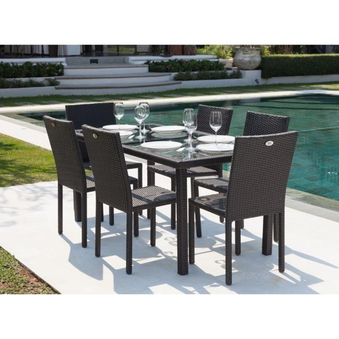 ensemble table de jardin 6 chaises acier et r sine tress e gris anthracite 266899. Black Bedroom Furniture Sets. Home Design Ideas