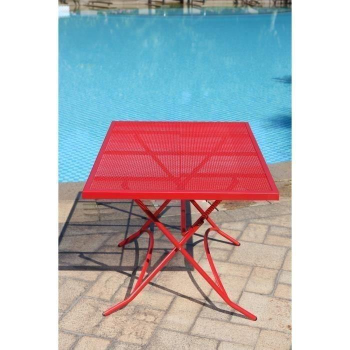 finlandek ensemble table de jardin 120 4 chaises rouge hieno 355097. Black Bedroom Furniture Sets. Home Design Ideas