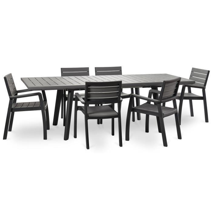 keter ensemble harmony extension table 160 240cm 6 fauteuils graphite 351223. Black Bedroom Furniture Sets. Home Design Ideas