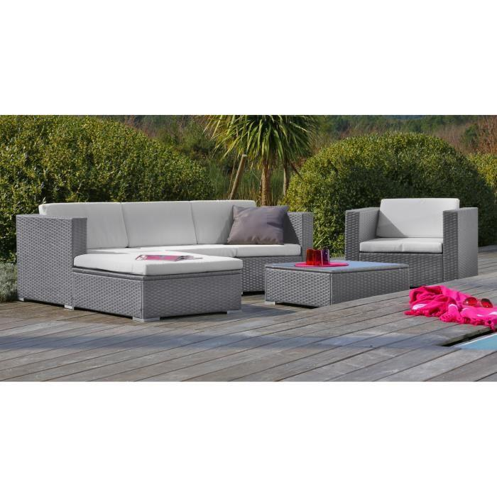 Loungitude goa salon de jardin en resine tressee gris 291948 for Table exterieur carrefour