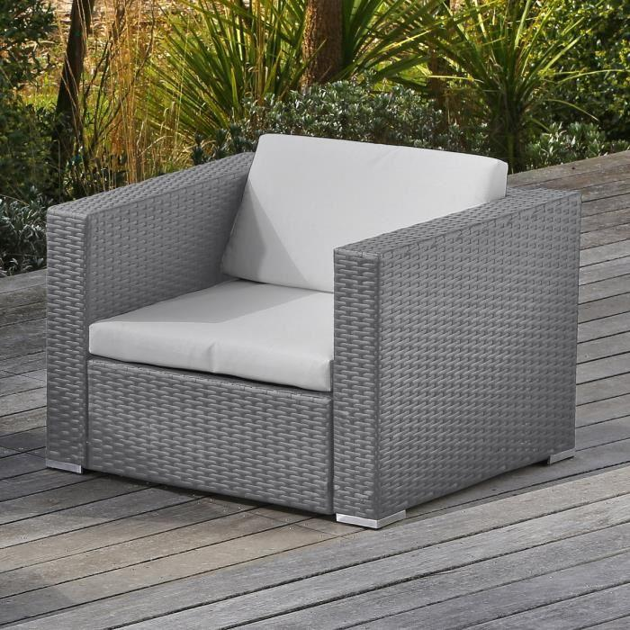 Loungitude goa salon de jardin en resine tressee gris 291948 for Article de jardin
