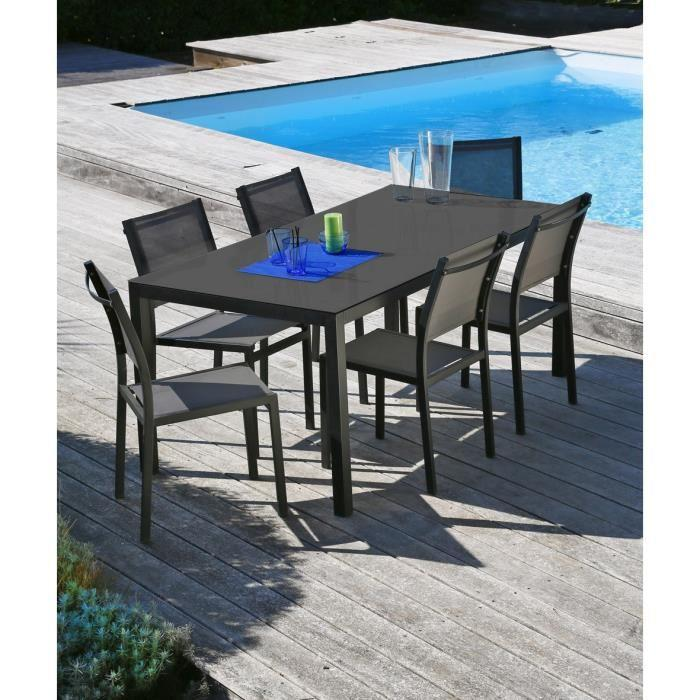 Loungitude salon de jardin table 160 6 chaises for Ensemble salon gris