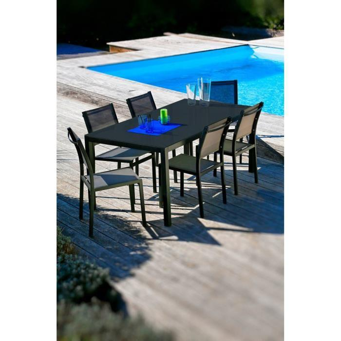 Loungitude salon de jardin table 160 6 chaises aluminium gris 318557 for Chaise salon de jardin couleur