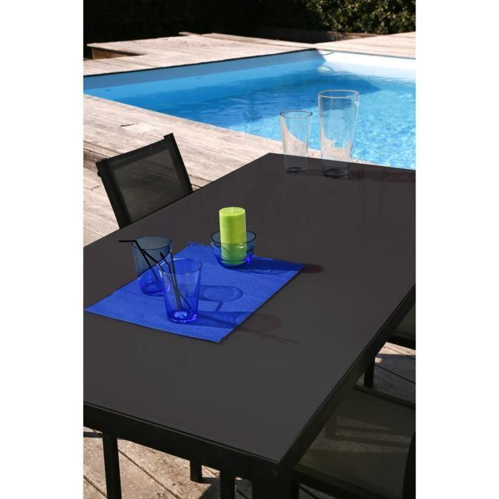 Loungitude salon de jardin table 160 6 chaises for Chaise salon de jardin aluminium