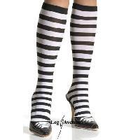 Soquettes Leg Avenue - Chaussettes hautes Zebrees - Noir et rose fluo - Taille Tu