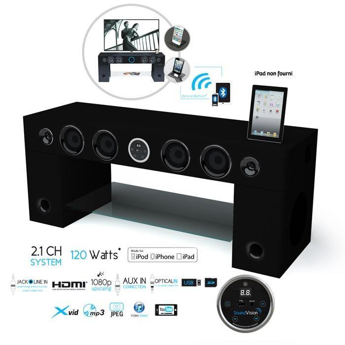 Soundvision soundstand100 meuble tv hifi bluetooth noir 265720 for Meuble tv audio